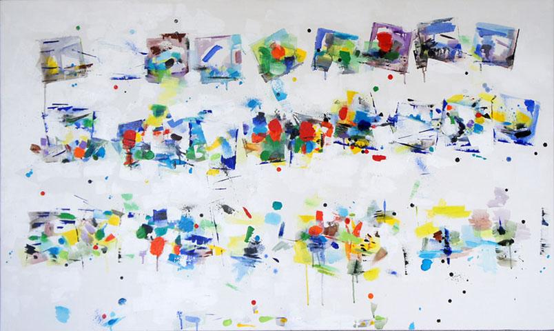 Chroma Acrylic on Canvas, Size : 38h x 60w 1.5d inches