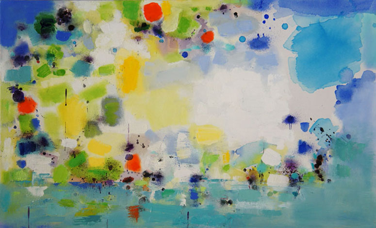 Island 2, Oil & Acrylic on Canvas, Size: 44w x 27h inches