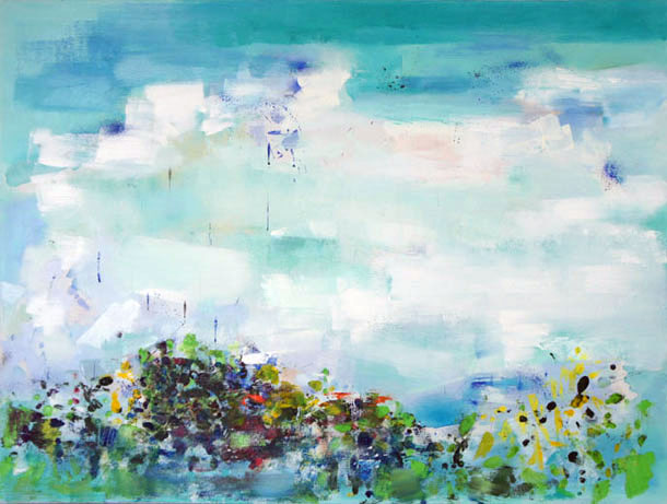 Island View 1, Oil on Canvas, Size: 48h x 36w inches