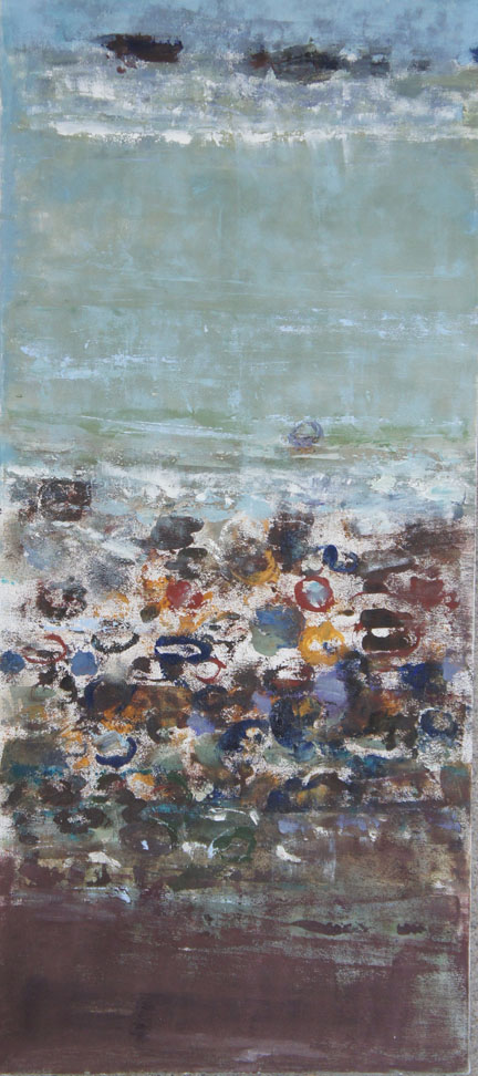 Winter Beach 2, Oil on Canvas, Size: 34h x 25w inches