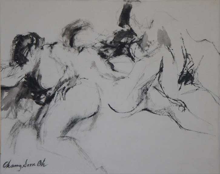 Nude 1, Black Ink on Paper, Size: 20.5 x 16.25 inches