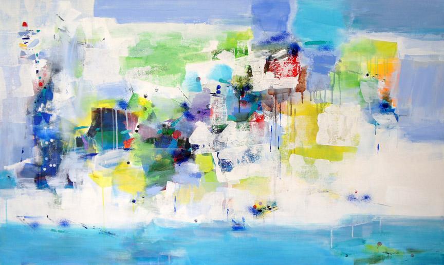 Ocean Isle, Acrylic on Canvas, Size: 36h x 60w inches