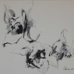 Orchid, Black Ink on Paper, Size: 23.75 x 17.5 inches