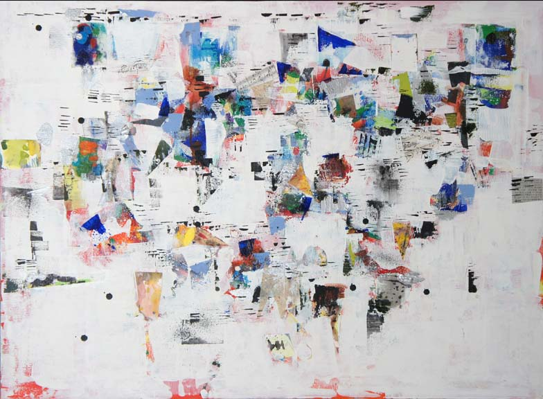 Wall after Election, Oil, Acrylic & paper on Canvas, Size: 28h x 38w inches