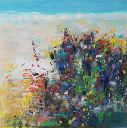 Beach Grass, Oil & Acrylic on Canvas, Size: 26h x 26h inches