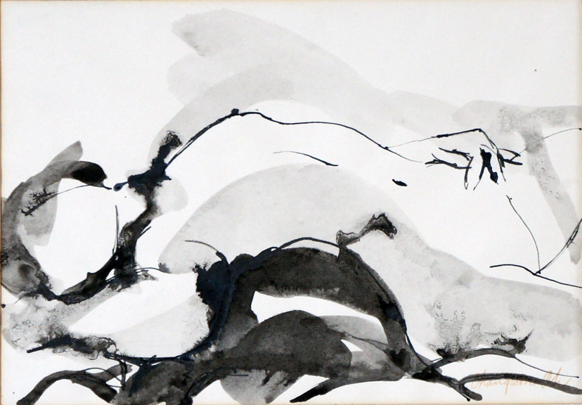 Nude, Black Ink on Paper, Size: 13.42h x 17.7w inches
