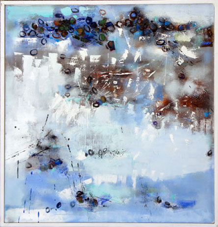 Winter Beach, Oil on Canvas, Size: 30h x 30w inches