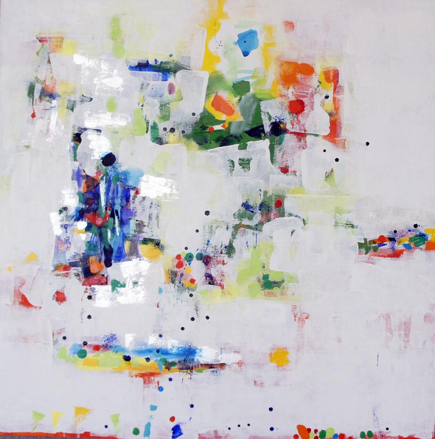 """Summer Mist, Oil & Acrylic on Canvas, 44""""h x 44""""w x 1.5""""d"""
