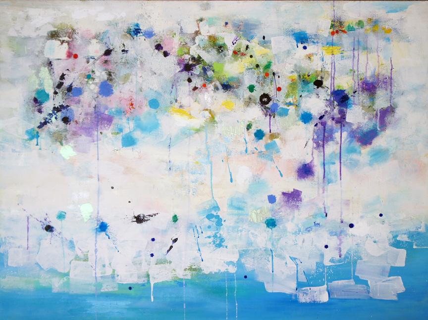 "the Island of Utopia, Oil & Acrylic on Canvas, 36""h x 48""h x 1.5""d"